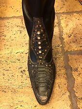 El Vaquero Black Leather DISTRESSED Boots with Rhinestones Size 39