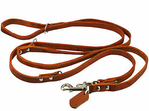"""European Real Leather Dog Leash 6-Way 49""""up to 94"""" long 1/2"""" wide, Medium Breeds"""