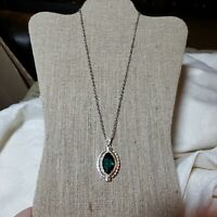 92.5 Sterling Silver Necklace with Emerald Green Teardrop Crystal Pendant