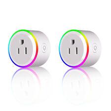 2-Pack WiFi Smart Plug w/ LED Light Remote Control Google Home/Alexa Work Socket