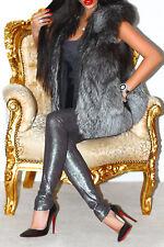 Fabulous real Silver Fox fourrure gilet gilet sans manches veste manteau court M L Luxe!