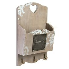 Shabby Wooden Chic Key Box Hooks Letters Wall Mounted Heart Cupboard