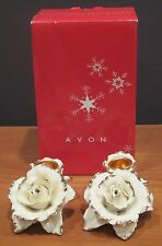 Avon Winter Rose Candle Holder Set Ivory & Gold From 2005 Holiday NIB RARE