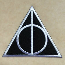 HARRY POTTER DEATHLY HALLOWS LOGO EMBROIDERY IRON ON PATCH BADGE #WHITE