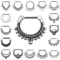 316L Stainless Steel Septum Clicker Nose Ear Ring Body Piercing USA Seller
