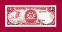 SCARCE TRINIDAD & TOBAGO 1 DOLLAR 1985 UNC BANKNOTE (P-36b) BIRD - OIL REFINERY