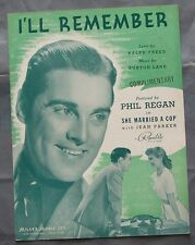 "Partition Sheet Music 1939 I'LL REMEMBER from the film ""She Married A Cop"" Regan"