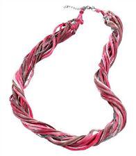 Mode Schmuck Halskette Stoffkette Pink ca. 90cm Romantik Look Sommer  Neu!!