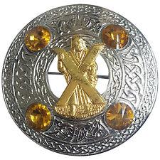 "Scottish Chrome Celtic Kilt Fly Plaid Brooch Yellow Stones 4"" S T Andrew Badge"