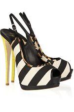 Giuseppe Zanotti Women's 38.5 Heels Striped Canvas Slingback Snakeskin Platform