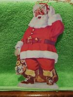 Vintage EPHEMERA Die Cut Santa Christmas Club Ornament Federation Bank  1950s