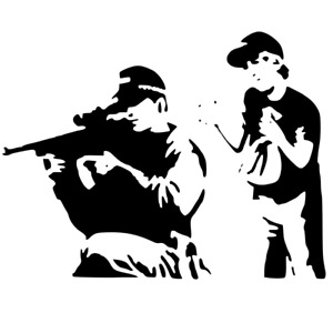 BANKSY GUNMAN STENCIL REUSABLE FROM A4 180 micron