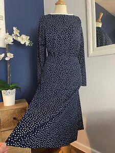 Super Soft Stretch Jersey Long Sleeve Midi Dress Navy Spotty SMALL UK 8 10 12