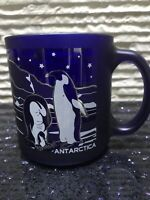 Rare! Vintage! Cobalt Blue Glass With Picture Of Penguins And Word Antarctica!