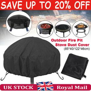 210D Outdoor Round Fire Pit Cover Garden BBQ Grill Bucket Pritector Waterproof