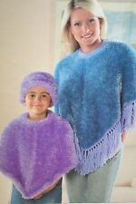 Ladies and Girls Poncho's and Hat Knitting Pattern (LK032)