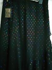 New Biba Rainbow Black Mid Length Split Skirt - Size 12 RRP £70