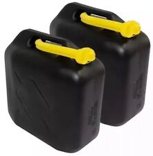3x 20L BLACK PLASTIC FUEL JERRY CAN DIESEL PETROL WATER 20 LITRE WITH FREE SPOUT