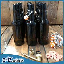 500ml Amber Beer Flip Top Bottle X12, Swing Top Pack,Turbo Washer, Brush, Seals