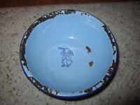 RARE Vintage Blue Child's Enamel/Granite Ware Bowl W/Rabbit!!