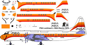 PSA final Lockheed Electra airliner Pointerdog7 decals for Minicraft 1/144 kit