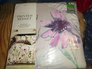 BNWT NEXT Superking Super king 100% Cotton Sateen Duvet Cover Floral Lilac