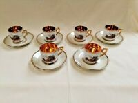 porcelain coffee set with 6 cups with gold interior french age vintage 60's