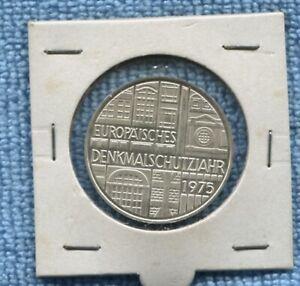1975 SILVER Germany 5 Deutsche Europäisches Denkmalschutzjahr Coin R-746
