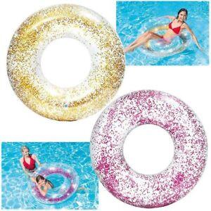INTEX Schwimm Reifen XXL Ring Kinder Erwachsene Transparent Glitter Gold Rosa