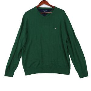 Tommy Hilfiger Men's Green Pullover Knit V-Neck Sweater - Size Large