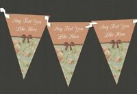Vintage Green Personalised Shabby Chic Garden Tea Party Bunting
