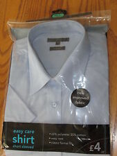 NEW GEORGE EASY CARE MEN'S SHIRT 17½ NECK SHORT SLEEVES BLUE CLASSIC FORMAL FIT