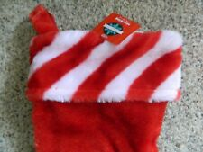 Red Christmas stocking w/candy cane trim
