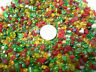 Mini Green Red Yellow Mix Glass Pebbles Crafts Mosaics Tiny Bottle Filler Gems