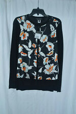 St. John Collection Jersey Knit Cardigan w/ Floral-Print Silk Front