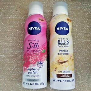 Nivea Foaming Silk Mousse Body Wash Raspberry & Vanilla 6.8 oz each 2 Pack NEW