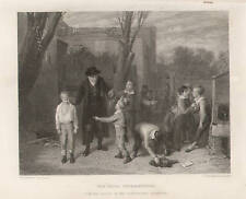 School Master Stops Fight Boys Bully Antique Print 1875