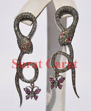 Victorian style Snake 5.10ct Rose Cut Diamond & Ruby Earrings Free Shipping