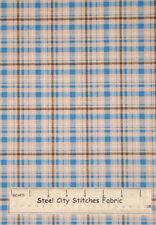 Plaid Blue Brown Cream Cotton Fabric by VIP Fabrics Retired 1 Yard 30 Inches