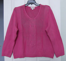 Appleseed's Size XL Bright Pink V Neck cotton sweater, long sleeves, NWT SALE