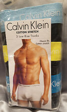 Calvin Klein 3 Low Rise Trunks L Black, Cotton Stretch #2664 ~ FREE SHIPPING!