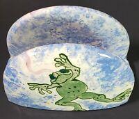 Vintage Ceramic Napkin Holder Frog Hunting Fly Signed by Artist MLB