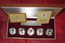 2008 BEIJING THE MASCOTS COMMEMORATIVE MEDALLION SILVER OVER BRONZE 5 COIN SET