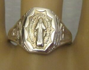 antique sterling silver VIRGIN MARY WITHOUT SIN SIGNET RING sz 10 Catholic