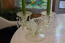 Vintage - Pressed Glass - Fan Motif - Double Candelabra w/ Glass Prisims