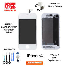 FOR iPhone 4 Complete LCD & Digitiser + Back + Home Button Replacement Kit WHITE