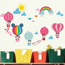 Mickey Minnie Mouse Hot air Balloon Wall Stickers Nursery Decal Baby Room Decor