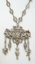 Antique Coppini Gothic Gilt Silver Devil, Sea Putti, Dangles Medallion Necklace