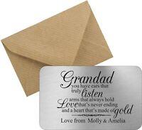 Personalised Grandad Dad Daddy Keepsake Wallet Card Birthday Gift Fathers Day