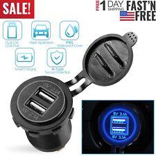 Dual USB Charger 12-24V Car Cigarette Socket Splitter waterproof Quick Charge US
